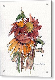 Acrylic Print featuring the painting Sunflower Trio #2 by Anne Duke