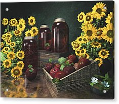 Sunflowers And Apples 2 Acrylic Print by Mary Almond