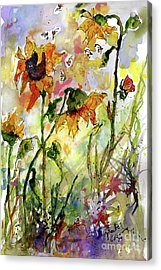Sunflowers And Bees Garden Acrylic Print