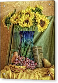 Sunflowers And Blue Vase Acrylic Print