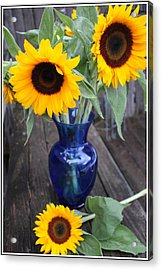 Sunflowers And Blue Vase - Still Life Acrylic Print