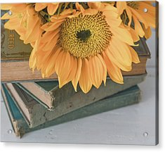 Acrylic Print featuring the photograph Sunflowers And Books by Kim Hojnacki