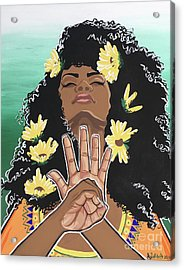 Sunflowers And Dashiki Acrylic Print by Alisha Lewis