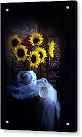 Sunflowers And Globe Acrylic Print by Linda Olsen