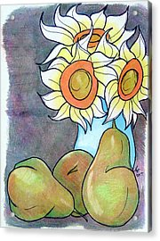 Sunflowers And Pears Acrylic Print by Loretta Nash