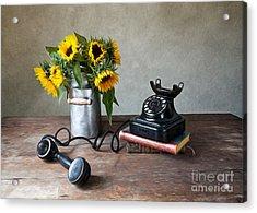 Sunflowers And Phone Acrylic Print by Nailia Schwarz