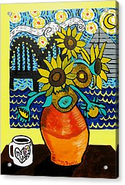Sunflowers And Starry Memphis Nights Acrylic Print