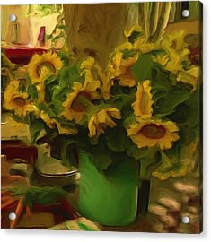 Acrylic Print featuring the painting Sunflowers At The Market by Shelley Bain