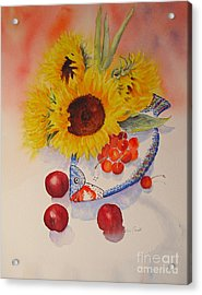 Acrylic Print featuring the painting Sunflowers by Beatrice Cloake