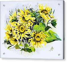 Sunflowers Acrylic Print by Elisabeta Hermann