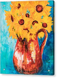 Sunflowers In A Pitcher Acrylic Print
