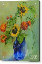 Sunflowers In Blue          Copyrighted Acrylic Print by Kathleen Hoekstra