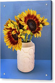 Sunflowers In Circle Vase Tournesols Acrylic Print by William Dey