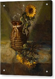 Sunflowers In Clay Pitcher Acrylic Print by Sandra Quintus