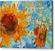 Sunflowers In Fields Acrylic Print
