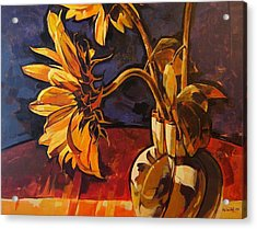 Sunflowers In Italian Vase Take Two Acrylic Print by Tim  Heimdal