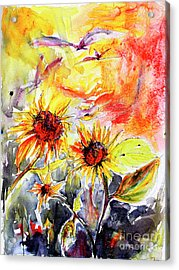 Sunflowers In Summer Garden Modern Watercolor And Ink Acrylic Print