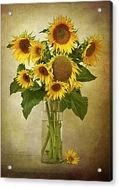 Sunflowers In Vase Acrylic Print by © Leslie Nicole Photographic Art