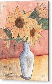 Sunflowers In Vase Sketch Acrylic Print by Ken Powers