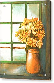 Acrylic Print featuring the painting Sunflowers In Window by Winsome Gunning