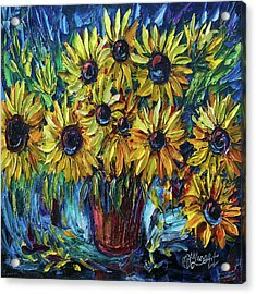 Sunflowers In A Vase Palette Knife Painting Acrylic Print