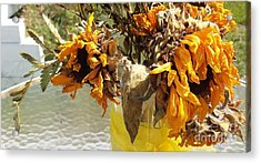 Sunflowers Linger On The Table Acrylic Print