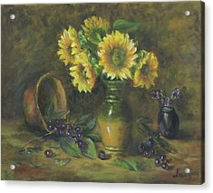 Acrylic Print featuring the painting Sunflowers by Katalin Luczay