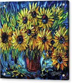 Sunflowers  Palette Knife Acrylic Print