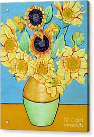 Sunflowers Tribute To Vincent Van Gogh II Acrylic Print by Christine Belt