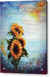 Sunflowers - Where Ocean Meets The Sky Acrylic Print by Harsh Malik