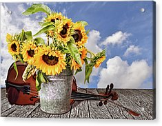 Sunflowers With Violin Acrylic Print