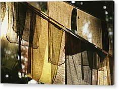 Sunlight Filters Through Prayer Flags Acrylic Print by Michael Melford