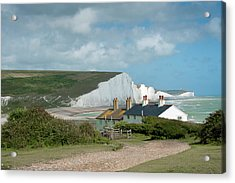 Sunlight On The Seven Sisters Acrylic Print by Donald Davis