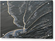 Sunlit Beach Wave Acrylic Print by Mike Coverdale