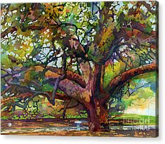 Acrylic Print featuring the painting Sunlit Century Tree by Hailey E Herrera