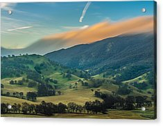 Sunlit Clouds On A Ridge Acrylic Print by Marc Crumpler