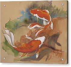 Sunlit Goldfish Acrylic Print by Tracie Thompson