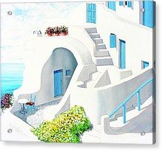 Sunlit In Santorini - Prints Of My Original Oil Painting Acrylic Print