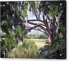 Acrylic Print featuring the painting Sunlit Marsh by Mary McCullah