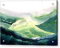 Sunlit Mountain Acrylic Print by Anil Nene