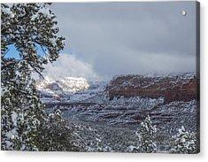 Sunlit Snowy Cliff Acrylic Print
