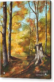 Sunlit Tree Trunk Acrylic Print