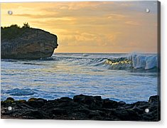 Sunlit Waves - Kauai Dawn Acrylic Print by Marie Hicks
