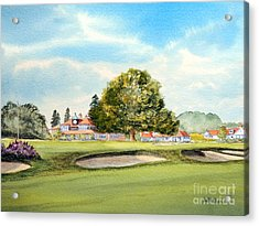 Acrylic Print featuring the painting Sunningdale Golf Course 18th Green by Bill Holkham