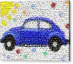 Sunny Blue Vw Bug Mosaic Acrylic Print by Paul Van Scott