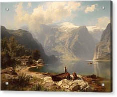Sunny Day At A Norwegian Fjord Acrylic Print by Mountain Dreams