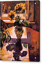 Acrylic Print featuring the painting Sunny Flowers In Italian Vase by Tim  Heimdal