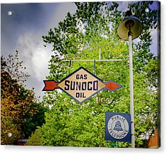 Sunoco Sign On Pole With Public Telephone Acrylic Print by Jack R Perry