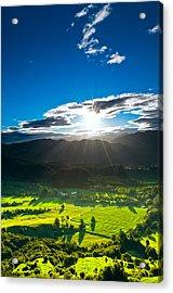 Sunrays Flood Farmland During Sunset Acrylic Print