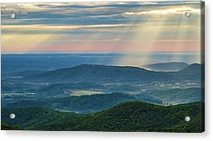 Acrylic Print featuring the photograph Sunrays Over The Blue Ridge Mountains by Lori Coleman